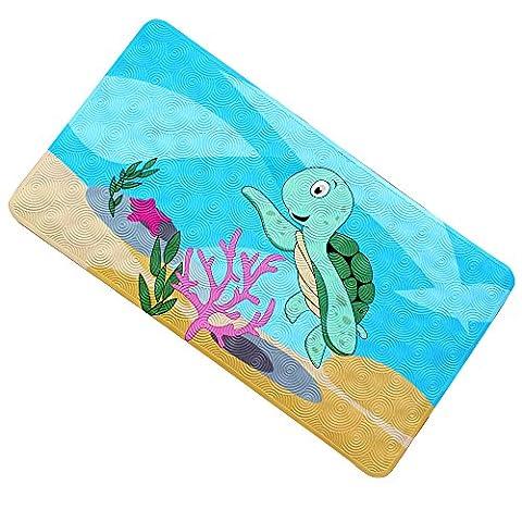 Warrah Premium quadratisch groß keine Slip Kinder Badteppich, rutschfester Dusche Matte, Cool rutschfeste im Badezimmer Badewanne Mats für Babys, Kinder 70cm * 40cm schildkröte