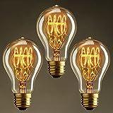 KJLARS Vintage Edison Glühbirne Glühlampe E27 60W A19 Birne Für Retro Nostalgie Beliebte Dekoratives Leuchtmittel (3 Stück)