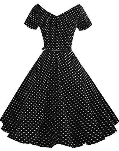 SMITHROAD Damen Audrey Hepburn 50s Retro Vintage Bubble Skirt Rockabilly Swing Party Ballkleid gepunktet mit Taillengürtel Nr.V091 Gr. 36 bis 48 Schwarz