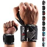 Handgelenkbandage [2er Set] in 45cm / 60cm Länge + Grundübungs Guide - Wrist Wraps fürs Krafttraining, Bodybuilding, Crossfit und Fitness - Handgelenkbandagen für Frauen und Männer geeignet