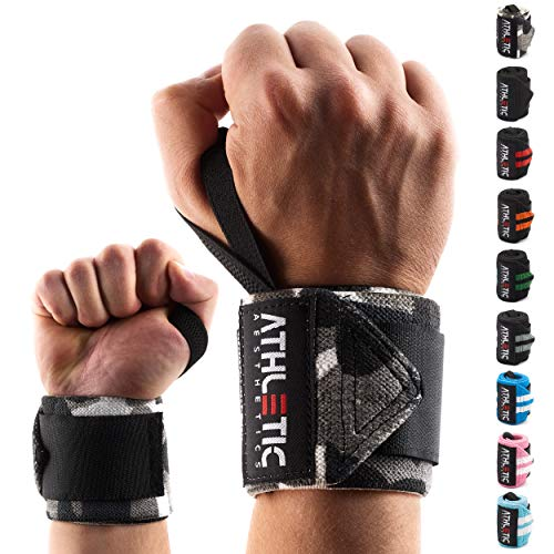 Handgelenkbandage [2er Set] in 45cm / 60cm Länge + Grundübungs Guide - Wrist Wraps fürs Krafttraining, Bodybuilding, Crossfit und Fitness - Handgelenkbandagen für Frauen und Männer geeignet - ATHLETIC AESTHETICS (45 cm Camou)