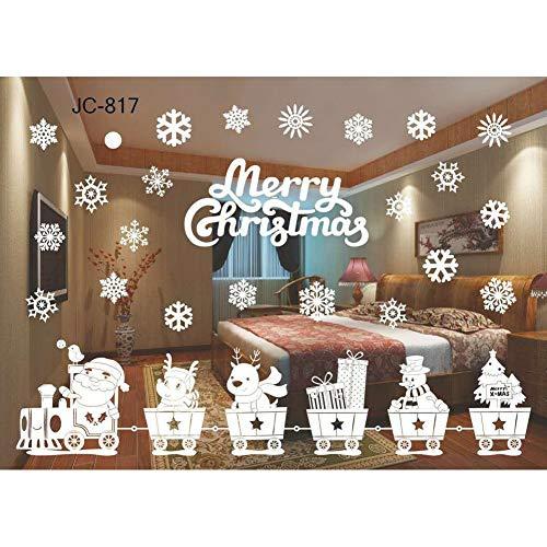 andaufkleber Abnehmbare Statische Fenster Aufkleber Weiß Weihnachtsmann Schneeflocke Aufkleber ()
