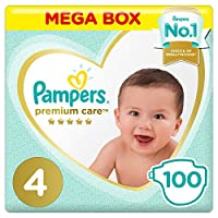 Pampers Premium care Diapers, Size 4, Maxi, 9-14 kg, Mega Box, 100 Count