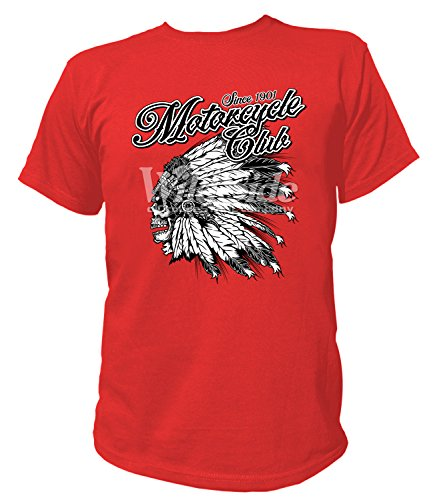 Head Dress Indian (Artdiktat Herren T-Shirt - MOTORCYCLE CLUB INDIAN FEATHER HEAD DRESS Größe S,)