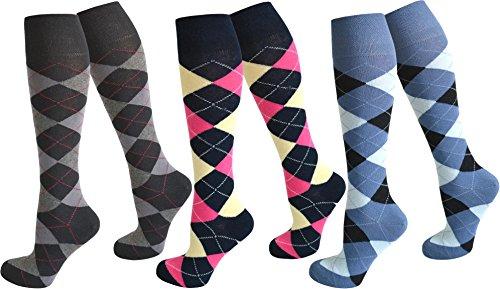3 Paar Kniestrümpfe für Teenager und Damen im Karo Design Farbe Farbset 4 Größe 39-42