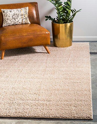 Moderne Solid Plüsch massiv Shag modernes Bereich Teppich, Polyester, taupe, 8 x 10 (Taupe 8x10 Bereich)