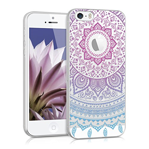 kwmobile Apple iPhone SE / 5 / 5S Hülle - Handyhülle für Apple iPhone SE / 5 / 5S - Handy Case in Blau Pink Transparent