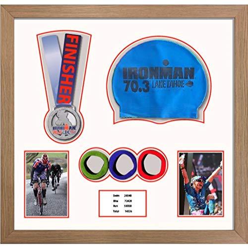 Kwik Picture Framing Ltd 3D Frame for Ironman, Triathlon Marathon, Running Medal, Swimming Cap, Photo and Title | White Mount