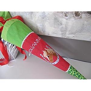 #46 Pferd im Hufeisen Schultüte Stoff + Papprohling + als Kissen verwendbar