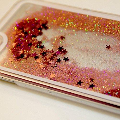 iPhone 6S Hülle, Anfire iPhone 6 Hart PC Ultradünnen Transparent Ctystal Hardcase für Apple iPhone 6 / 6S (4.7 zoll) Premium 4D Liquid BlingTaschenhülle Case Cover Dynamisch Treibsand Flüssige Fließen Rosa
