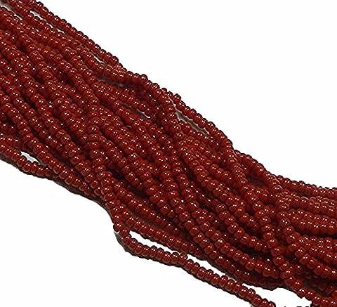 Czech 11/0 Glass Seed Beads 1 6 String Hank Preciosa Opaque Dark Red