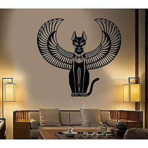 Vinyl Wandaufkleber Abziehbilder Schlafzimmer Dekoration Alte Ägyptische Katze Göttin von Ägypten Wandtattoo Wohnzimmer 45X42 cm
