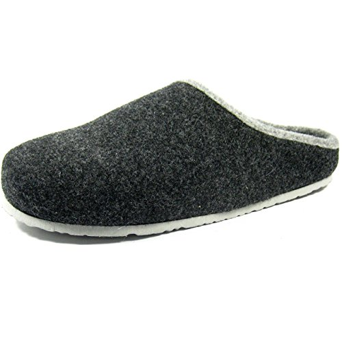 Filzclogs mit Fußbett Unisex Filzpantoffel Herren Damen Hausschuh Anthrazit