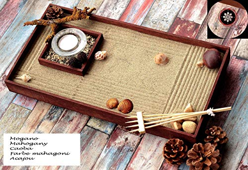 Jardin zen para Interior de Hogar en estilo Feng shui.Lleva Velas Arena Conchas y Rastrillo (personalizable) ॐ Zensimongardens®