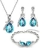 NEOGLORY Conjunto Collar Pulsera Pendientes con Cristales SWAROVSKI AZUL Joya Original Regalo Mujer Chica