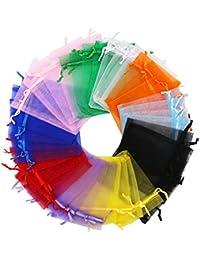 SumDirect 100Piezas 10x 12cm Varios Colores Bolsas de cordón Boda Favor Bolsa de Organza Bolsa de Regalo para Boda, Joyas, Fiesta