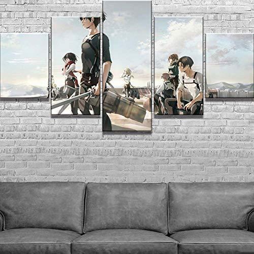 XLST Dekoration Segeltuch HD-Drucke 5 Stücke Attacke Auf Titan Bilder Anime Wandkunst Malerei Modern Zuhause Modular Poster,A,20X35X220X45X220X55X1