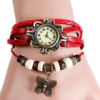 Dosige-1-Stck-Damen-Armbanduhr-Geflochten-aus-Leder-Retro-Schmetterling-Pendant-Uhr-Anhnger-Spangenuhr-Quarzuhren-Rot