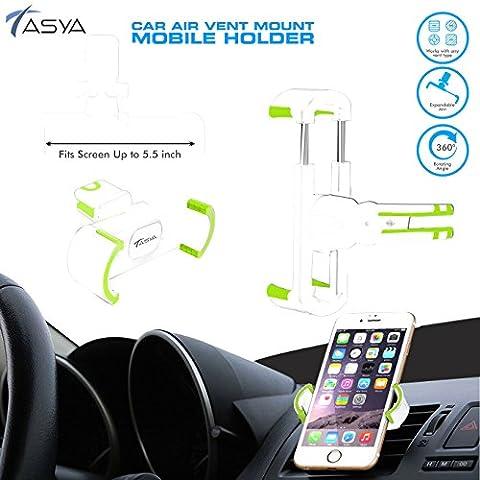 Cell Phone Holder Air Vent 360 Degree Car Holder car mount cradle for iPhone, Samsung, LG, Nexus, Motorola, Sony, HTC, Google, Windows & Other Smartphones - TASYA (BLACK) (WHITE)