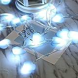 Lilalit LED Herz Lichterkette-3M 20 Blau Herzen, Batteriebetrieben, Warmweiß Stimmungslichter für Weihnachten, Hochzeit, Party, Zuhause sowie Garten, Balkon, Terrasse, Fenster, Treppe, Bar