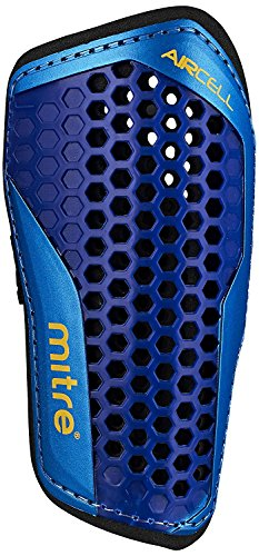 Mitre Aircell Carbon Slip Football Shin Pads - Blue/Cyan/Yellow, Small