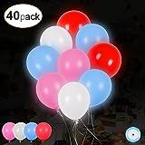 40 LED leuchtende bunte Luftballons mit farbigem Band, 24 Stunden Leuchtdauer, für Party, Geburtstag, Hochzeit, Festival, Weihnachten, von AGPTEK Q02, 4 unwechselnde Farben