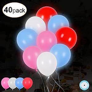 40 LED leuchtende bunte Luftballons mit farbigem Band, 24 Stunden Leuchtdauer, für Party, Geburtstag, Hochzeit, Festival, Weihnachten, von AGPTEK Q02, 4 Farben