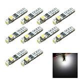 10 pezzi T5 Luci bianche Neo Wedge LED 3-SMD 3528 Lampadine per cruscotto per quadro strumenti per auto Lampadine per manometro calibro 12V DC