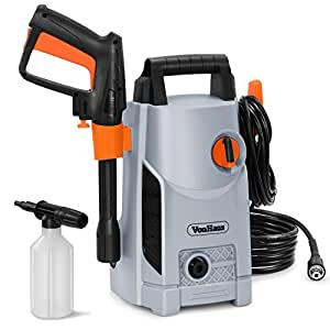 VonHaus 1600W Pressure Washer with Accessories – Outdoor Home/Patio & Car Cleaner - 90bar working Pressure /135bar Max Pressure, 330litres/hour Flow