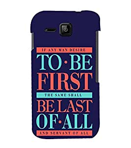 FUSON Be First Be Last 3D Hard Polycarbonate Designer Back Case Cover for Micromax Bolt S301