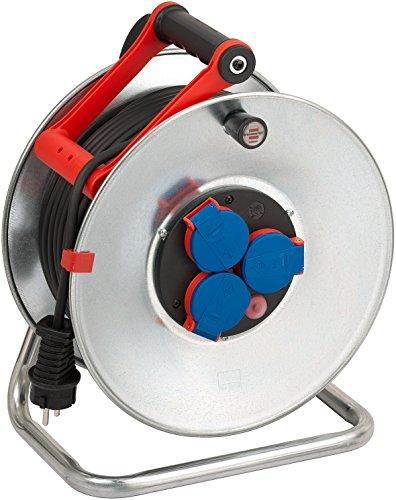 Brennenstuhl Garant S IP44 Kabeltrommel (50m, Kabel kältebeständig bis -35 °C - Stahlblech, kurzfristiger Einsatz im Außenbereich), silber