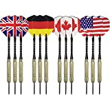 Steel Tip Darts Set (12-Pack) - Aluminum Shafts, Brass Barrels And National Flight Flags - United States, Canada, Germany, England - Professional Or Beginner Throwing