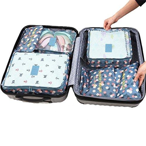 Reise Gepäck Organizer Taschen 6pcs Set Essential bags-in-bag Wasserdicht Nylon Verpackung Cubes Koffer Storage Wäschesack Staubbeutel Cosmetics Fall Kleidung Unterwäsche Schuhe Tasche Beutel, 1#, L 1#