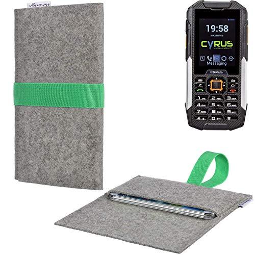 flat.design Handyhülle Aveiro mit Filz-Deckel und Gummiband-Verschluss für Cyrus cm 16 - Sleeve Case Etui Filz Made in Germany hellgrau grün - passgenaue Smartphone Tasche für Cyrus cm 16
