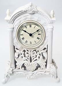 Filigree Art Deco Mantel Clock - Broken Arch & Pillars