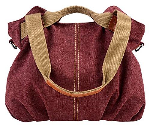 Panegy Damen Frauen Casual Tasche Mode Canvas Schultertasche Fashion Large Kapazität Handtasche Für Freizeit Outdoor und Sport - Weinrot Weinrot