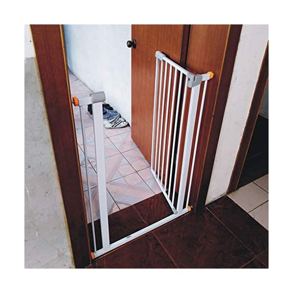 Child safety gate bar baby stair door pet dog fence indoor large dog stairs barrier fence AA-SS-Safety Door ♥Squeeze and lift handle for easy one handed adult opening ♥Quick-release fittings for removal when not required ♥Includes stop pins for mounting at the top of stairs 6