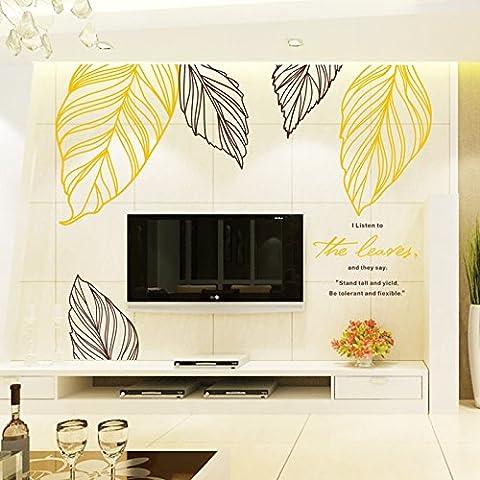 Xzpy129 Eine Idyllische Wind Green Leaf Sofa Tv Wand Warmen Schlafzimmer Bett Wall Sticker, Gelb + Dunkel Kaffee Übergroßen 300*156 Cm