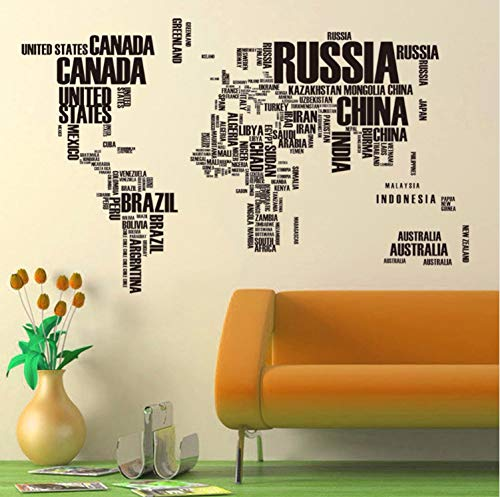 zpbzambm Black Country Name World Map Wall Stickers for Bedroom Living Room Classroom Home Decor Art DIY Wall Decals PVC Murals Wallpaper -