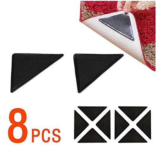 OMzgxGOD - 8 Stück Rutschfeste Matten Fester Teppich, waschbar und wiederverwendbar, Rutschfeste Silikon-Pads für Fliesenböden, Teppiche, Fußmatten, Wand, Bad und Wohnzimmer - Teppich-pad