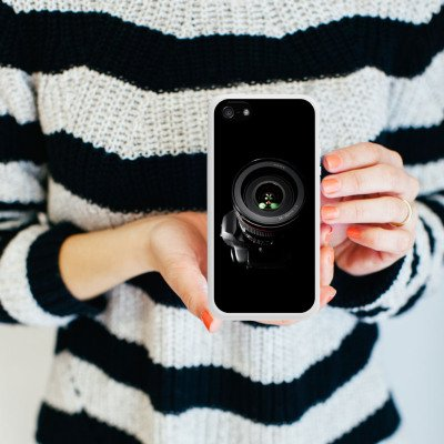 Apple iPhone 5s Housse Étui Protection Coque Photo reflex Objectif Photographie Housse en silicone blanc