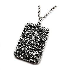 Miss–E–JEWELS Miles de diosa de misericordia Vintage acero inoxidable hombres mujeres Buda colgante collar medallón amuleto Talisman