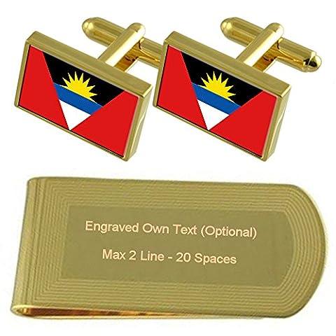 Antigua und Barbuda Flagge Gold-Manschettenknöpfe Geldscheinklammer Gravur Geschenkset