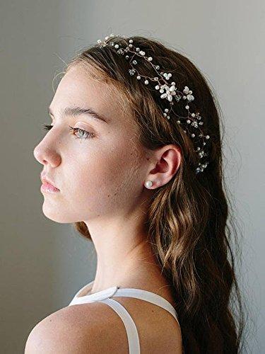 zeit Haar Ranke mit Kristall Blume Brautschmuck Stirnband Zubehör Krone Tiara für Braut und Brautjungfer (Gold) (Königin Der Diamanten-halloween-kostüm)