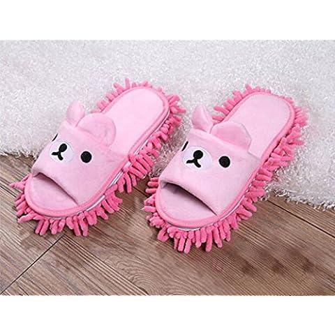 Ciniglia Scarpe Pantofola immagine Orso Rosa, pantofole con staccabile lavapavimenti Attrezzi per la pulizia utilizzate su pavimenti in legno, linoleum e piastrelle. 9 7/9