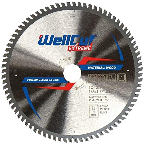WELLCUT Extreme Kreissägeblatt 165 x 20 mm, 80 Zähne, für Festool Bosch Makita DeWalt etc. Wolframcarbid bestückt (TCT)