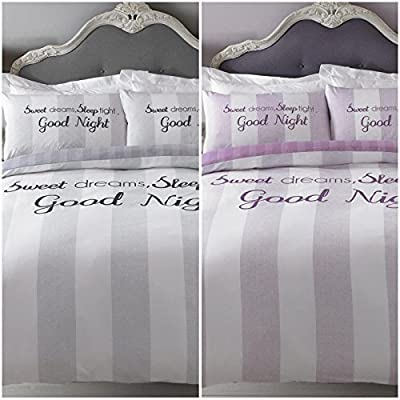 Striped & Text Patterned Duvet Cover with Pillowcase - Reversible Design - inexpensive UK light shop.