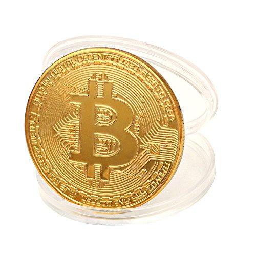 TWIFER Gold überzogene Bitcoin Münze Sammlerstück BTC Münze Kunst Sammlung Physikalisch (38mm, Gold) - Gold Münze
