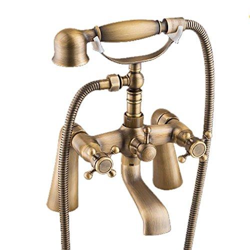 XYQ-Telefon dusche licht Dusche Retro Bad Dusche System Doppelgriff Bad Dusche Mischbatterie mit Handbrause Messing