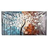 Anself 60 * 120cm Unframed Hand-Painted Oil Painting Set Flower Tree Canvas Print Decoration for Home Living Room Bedroom Office Art Picture